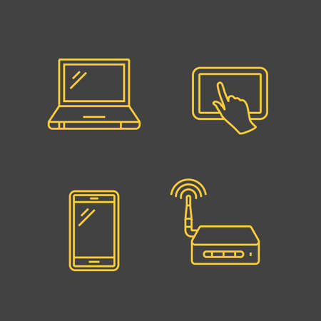 wireles: Wireles network and mobile devices. Network connections. Vector outlined icons. Linear style Illustration
