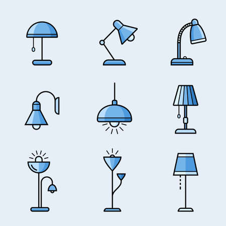 lighting fixtures: Light fixtures icon set. Lamps, chandeliers and other lighting devices. Material design style Illustration