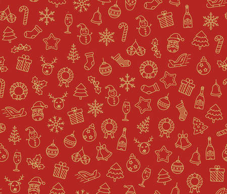 hollyberry: Merry Christmas and Happy New Year seamless pattern. Christmas symbols background.