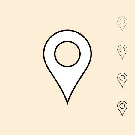 pin: Geo pin icon. icon in four different thickness. Linear style Illustration