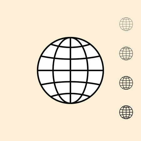 thickness: Abstract globe icon. icon in four different thickness. Linear style