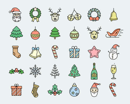 christmas icon: Christmas icon set. Linear colored icons dedicated to Merry Christmas and Happy New Year. Linear style