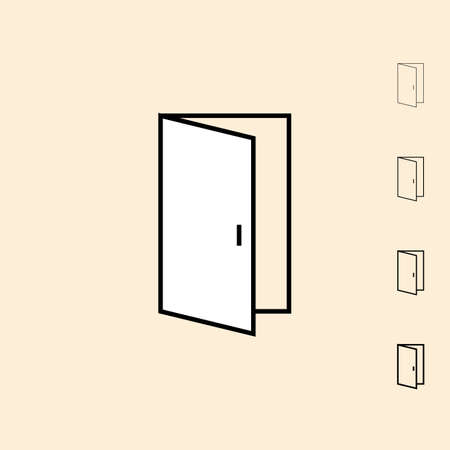 thickness: Open door icon. icon in four different thickness. Linear style