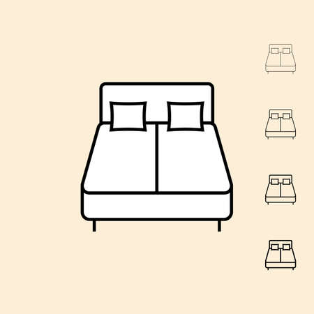 thickness: Bed icon. icon in four different thickness. Linear style Illustration