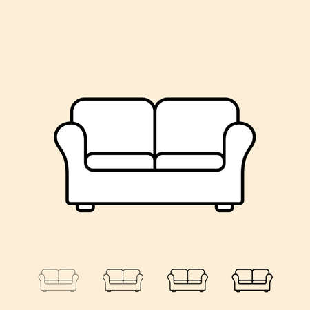 thickness: Sofa icon. icon in four different thickness. Linear style