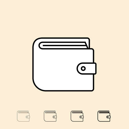 pay money: Wallet icon. icon in four different thickness. Linear style