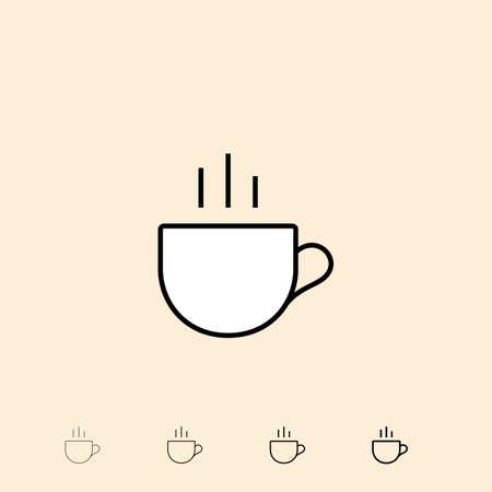 cup four: Cup of tea icon. icon in four different thickness. Linear style