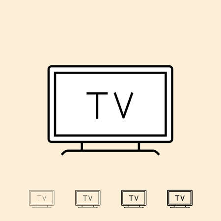 television icon: Television icon. icon in four different thickness. Linear style