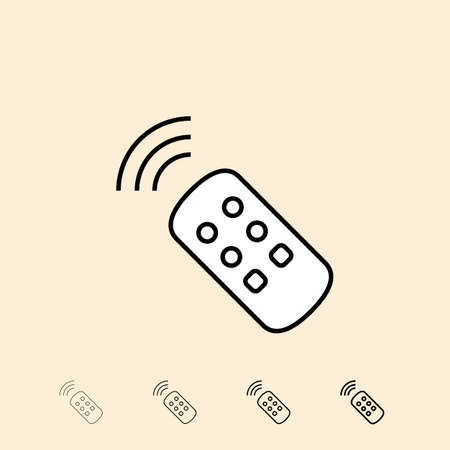 thickness: TV remote control icon. icon in four different thickness. Linear style
