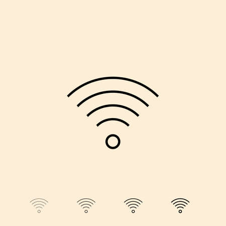 wireless connection: Wireless connection icon. icon in four different thickness. Linear style Illustration