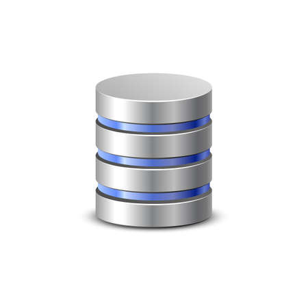 harddisk: Database icon. Network backup. Communication and hosting objects series. Vector illustration Illustration