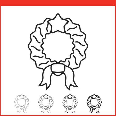 hollyberry: Christmas wreath icon. Vector icon. Linear style