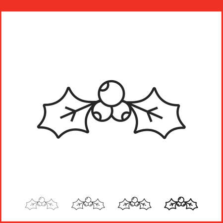 hollyberry: Christmas hollyberry icon. Vector icon. Linear style