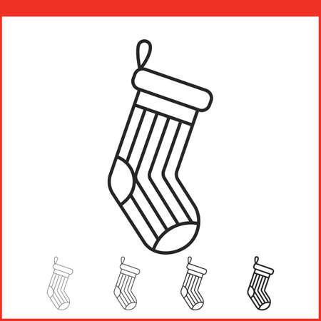 christmas icon: Christmas stocking icon. Vector icon. Linear style Illustration