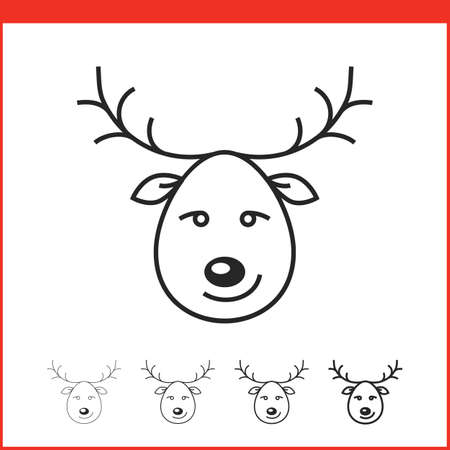 christmas icon: Santa Clauss reindeer. Christmas icon. Vector icon. Linear style