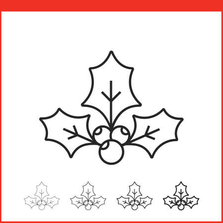 hollyberry: Christmas holly icon. Vector icon. Linear style
