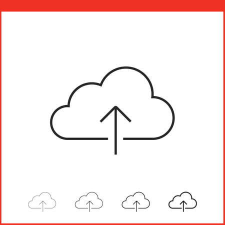 thickness: Upload icon. Vector icon of cloud with up arrow in four different thickness. Linear style