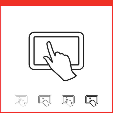multi finger: Tablet pc icon. Vector icon of tablet pc and hand gesture in four different thickness. Linear style