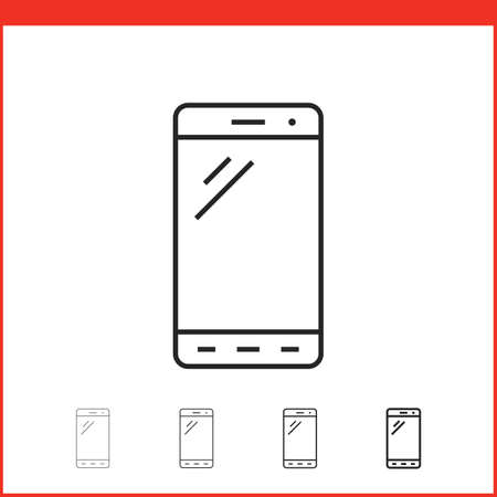 thickness: Smart phone icon. Vector icon of smartphone in four different thickness. Linear style