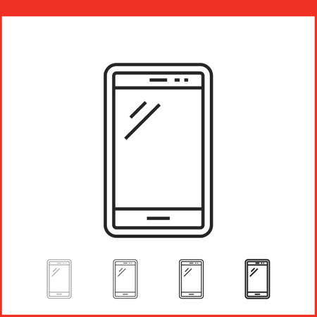 smart phone: Smart phone icon. Vector icon of smartphone in four different thickness. Linear style