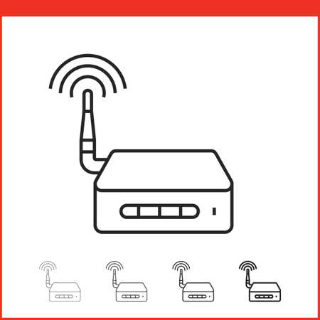 wifi access: Wireless access point icon. Vector icon of wifi router in four different thickness. Linear style Illustration