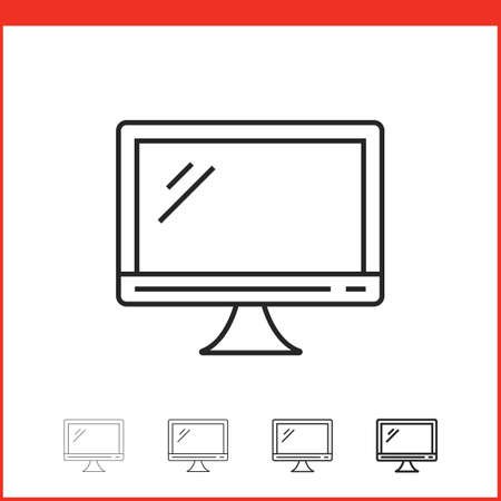 lcd screen: Flat lcd led screen icon. Vector icon of monitor in four different thickness. Linear style Illustration