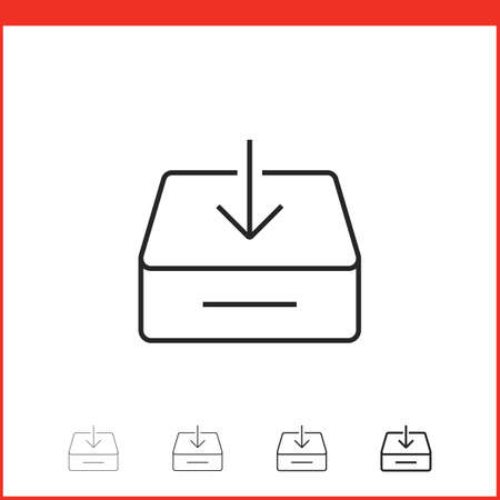 thickness: Downloading icon. Vector icon of box with download arrow in four different thickness. Linear style