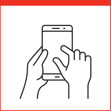 flick: Touch screen gestures icon for smartphone. Simple outlined vector icon for a mobile app user interface or manual. Smartphone gesture icon in linear style