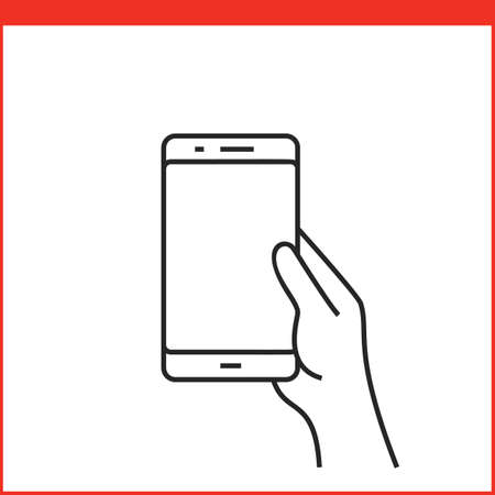 pinching: Touch screen gestures icon for smartphone. Simple outlined vector icon for a mobile app user interface or manual. Smartphone gesture icon in linear style