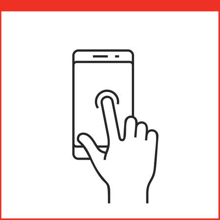 nudge: Touch screen gestures icon for smartphone. Simple outlined vector icon for a mobile app user interface or manual. Smartphone gesture icon in linear style