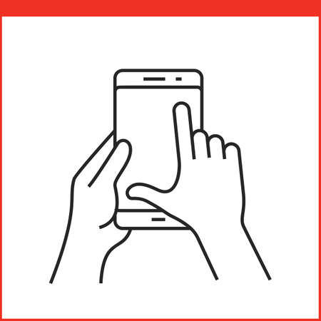 hand outline: Touch screen gestures icon for smartphone. Simple outlined vector icon for a mobile app user interface or manual. Smartphone gesture icon in linear style
