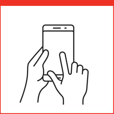 multi finger: Touch screen gestures icon for smartphone. Simple outlined vector icon for a mobile app user interface or manual. Smartphone gesture icon in linear style