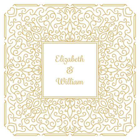 invitation cards: Wedding invitation template with floral ornaments and copy space for names. Vector illustration Illustration