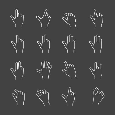 multi finger: Gestures for touch devices. Simple outlined vector icons for a mobile app user interface or manual. Linear style