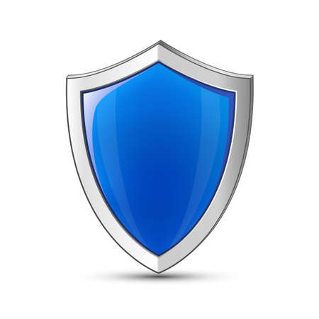 iron defense: Protection concept. Vector illustration of blue glossy shield Illustration