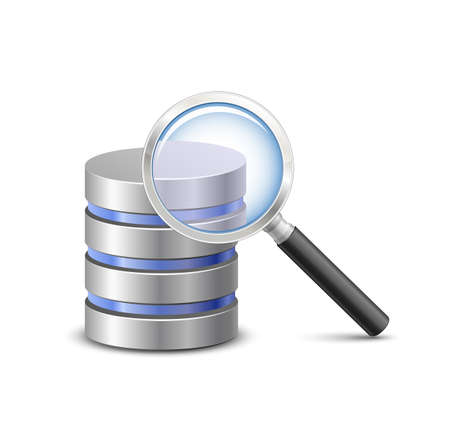 Database search illustration. Database sign and magnifying glass. Vector Illustration of database searching
