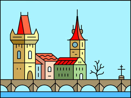 charles: Prague morning icon. Old Prague - Charles Bridge and Castle vector city skyline and buildings
