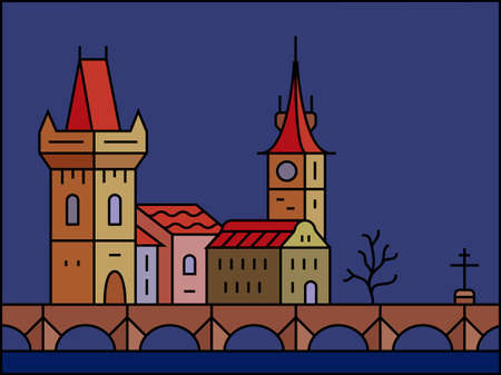 old city: Prague at night. Old Prague - Charles Bridge and Castle vector city skyline and buildings Illustration