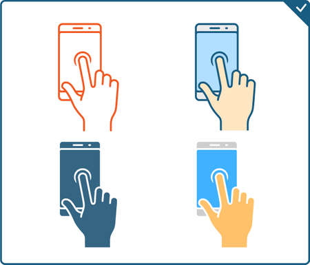 pinching: Touch screen gestures icon for smartphone. Vector icon for a mobile app user interface or manual. Smartphone gesture icon in four different styles