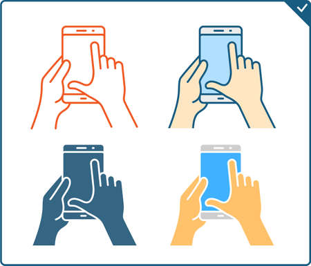 multi finger: Touch screen gestures icon for smartphone. Vector icon for a mobile app user interface or manual. Smartphone gesture icon in four different styles