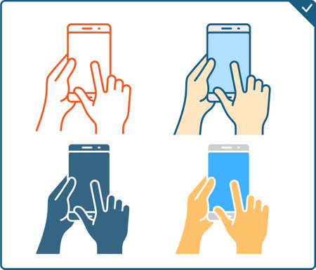 flick: Touch screen gestures icon for smartphone. Vector icon for a mobile app user interface or manual. Smartphone gesture icon in four different styles