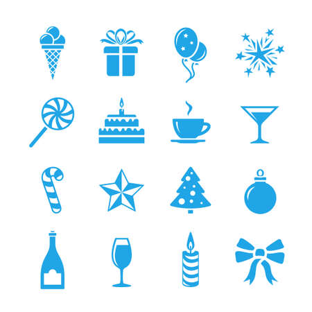 event icon: Birthday celebration icons. Holidays and event icon set. Vector icons