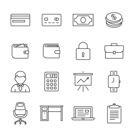 calc: Financial and business icon set. Outline icons - money, finance and payments. Linear style Illustration