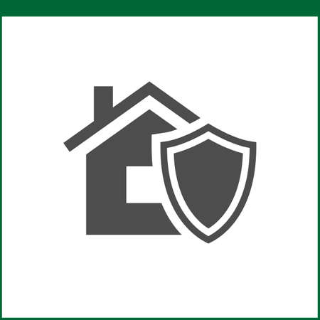 fire damage: Property insurance icon. Home protections and insurance risks. Vector icon