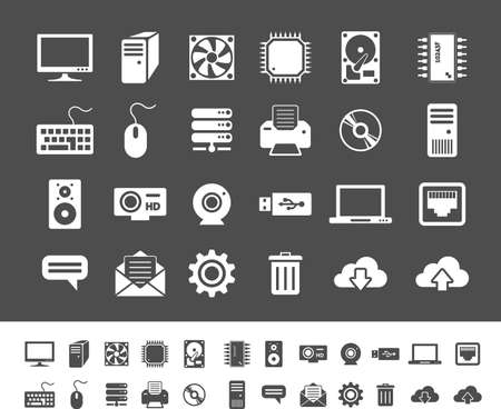 computer icons: Computer and network devices. Clean and simple vector icons for application and websites Illustration