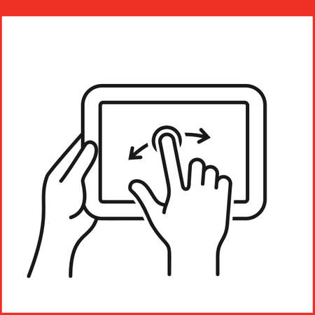flick: Touch screen gestures icon for tablet pc. Simple outlined vector icon for a mobile app user interface or manual. Tablet gesture icon in linear style