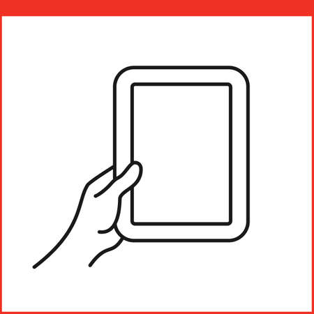 pinching: Touch screen gestures icon for tablet pc. Simple outlined vector icon for a mobile app user interface or manual. Tablet gesture icon in linear style