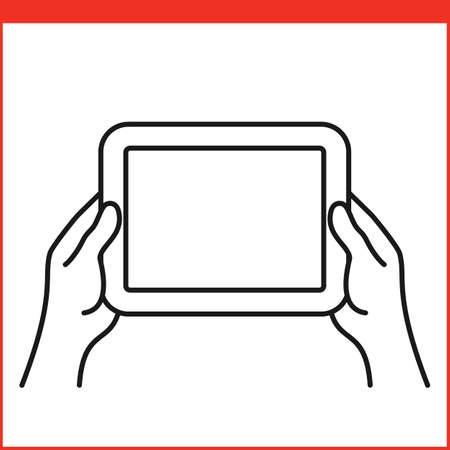 rotate: Touch screen gestures icon for tablet pc. Simple outlined vector icon for a mobile app user interface or manual. Tablet gesture icon in linear style