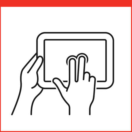 multi finger: Touch screen gestures icon for tablet pc. Simple outlined vector icon for a mobile app user interface or manual. Tablet gesture icon in linear style