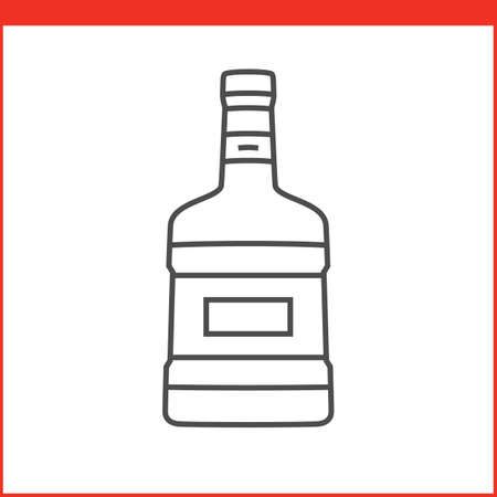 alcoholic beverage: Bottle of a spirit, liqueur or other alcoholic beverage. Simple outlined vector of alcohol bottle. Linear style